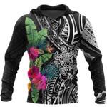 Ligerking™ Polynesian Black Hibiscus Turtle Hoodie 3D all over print HD05002