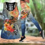 Ligerking™Polynesian Blue Turtle Hibicus Tank Top, Leggings 3D All Over Print HD05006
