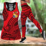 Ligerking™Polynesian Tonga Youthful Dynamic Red Color Tank Top, Leggings 3D All Over Print HD04999