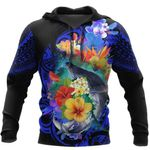 Ligerking™ Polynesian Kanaka Maoli Whale with Flowers Hoodie 3D all over print HD04988