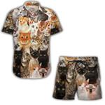 Ligerking™ Cat Breeds Short Sleeve Shirt, Beach Shorts HD04733