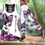 Ligerking™ Pink Collie Tattoos Tank Top, Leggings 3D All Over Print HD05335