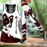 Ligerking™ Red Collie Tattoos Tank Top, Leggings 3D All Over Print HD05327