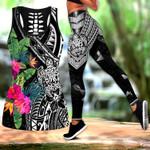 Ligerking™Polynesian Black Hibicus Turtle Tank Top, Leggings 3D All Over Print HD05002