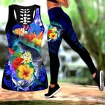 Ligerking™Polynesian Kanaka Maoli Whale with Flowers Tank Top, Leggings 3D All Over Print HD04988