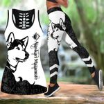 Ligerking™ Black Alaskan Malamute Tattoos Tank Top, Leggings 3D All Over Print HD05362