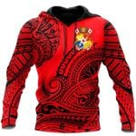Ligerking™ Polynesian Tonga Youthful Dynamic Style Red Color Hoodie 3D All Over Print HD04999