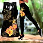 Ligerking™ Polynesian Tattoo Turtle Hibicus Frangipany Tank Top, Leggings 3D All Over Print HD04952