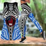 Ligerking™ Polynesian Blue Samoa Tattoo Tank Top Leggings 3D All Over Print HD04859