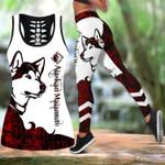 Ligerking™ Red Alaskan Malamute Tattoos Tank Top, Leggings 3D All Over Print HD05361