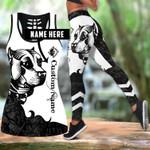 Ligerking™ Black Staffordshire Bull Terrier Tattoos Tank Top, Leggings 3D All Over Print HD05366