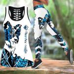 Ligerking™ Blue Collie Tattoos Tank Top, Leggings 3D All Over Print HD05336