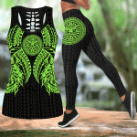 Ligerking™ Polynesian Green Tattoo Tank Top Leggings 3D All Over Print HD04843