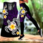 Ligerking™ Polynesian Tattoo Purple Turtle Tank Top, Leggings 3D All Over Print HD04984