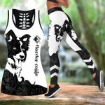 Ligerking™ Black Collie Tattoos Tank Top, Leggings 3D All Over Print HD05333