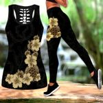 Ligerking™Polynesian Black Turtle Hibicus Tank Top, Leggings 3D All Over Print HD04996