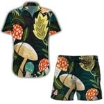 Ligerking™ Mushroom Short Sleeve Shirt, Beach Shorts HD04737