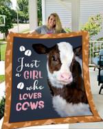 Ligerking™ A Girl Loves Cows Fleece Blanket HD06295