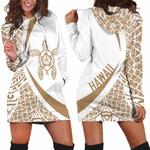 Hawaii Turtle Polynesian Hoodie Dress - Circle Style Golden And White  Hado0121B