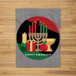 circle Happy Kwanzaa kwanza african xmas Fleece Blanket
