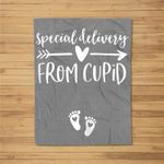 Womens Valentines Day Couples Pregnancy Announcement Cupid Fleece Blanket