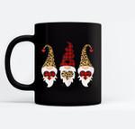 Womens Valentines Day Gnomes Leopard Cheetah Print Red Plaid Black Mugs