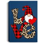 Cute Gnomes Valentines Love Leopard Plaid Couple Matching Portrait Bed Room/ Living room Wall Art