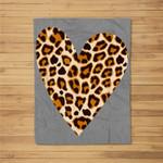 Cute Heart Valentines Leopard Pattern Top Women Fleece Blanket