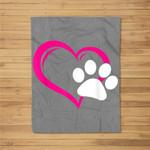 Cute I Love My Dog Puppy Cat Paw Heart Fleece Blanket