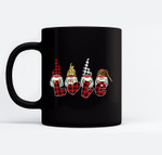 Cute Nordic Gnomes Love Hearts Leopard Plaid Black Mugs