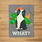 Cat What Black Cat With Christmas Tree Fleece Blanket