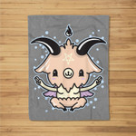 Pastel Goth Baphomet Satanic Kawaii Japanese & Gift Fleece Blanket