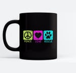 Peace Love Rescue Dogs Retro Distressed Graphic Design Black Mugs