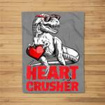 Valentines Day Dinosaur Boys Kids Heart Crusher T rex Fleece Blanket