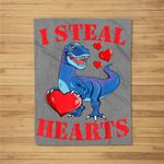 Valentines Day Dinosaur I Steal Hearts Gifts for Boys Fleece Blanket