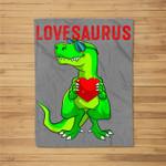 Valentines Day Dinosaur T Rex Boys Valentine Kids Lovesaurus Fleece Blanket
