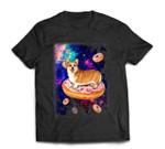 Space Corgi Riding Donuts in Galaxy Funny Corgi T-Shirt