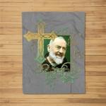 St Padre Pio Prayer Cross Gifts for Catholics Holy Saints Fleece Blanket