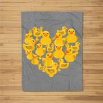 Rubber Duck as Love & Heart Ducky Quack Valentine's Day Fleece Blanket