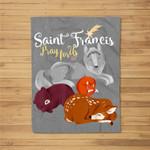 Saint Francis of Assisi Patron of Animals Wolf Animal Lover Fleece Blanket