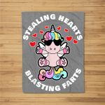 Stealing Hearts And Blasting Farts Valentines Day Unicorn Fleece Blanket