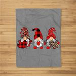 Three Gnomes Holding Heart Leopard Happy Valentine's Day Fleece Blanket