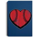 Baseball Heart Vintage Valentine's Day for Kids Boys Portrait Bed Room/ Living room Wall Art