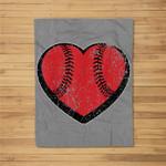 Baseball Heart Vintage Valentine's Day for Kids Boys Fleece Blanket