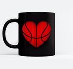 Basketball Heart Valentine's Day For Boys Girls Gift Black Mugs