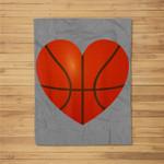 Basketball Heart Valentine's Day Teacher Boys Girls Fleece Blanket