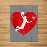 Basketball Valentine Day For Basketball Lover Gifts Fleece Blanket