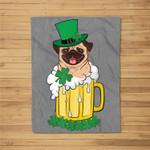 Leprechaun Pug Dog In Irish Beer St Patricks Day Gift Fleece Blanket