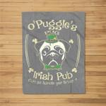 Leprechaun Pug Irish Shamrock St Patrick's Day Fleece Blanket