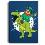 Leprechaun Riding a T-Rex Dinosaur Funny St Patricks Day Portrait Canvas